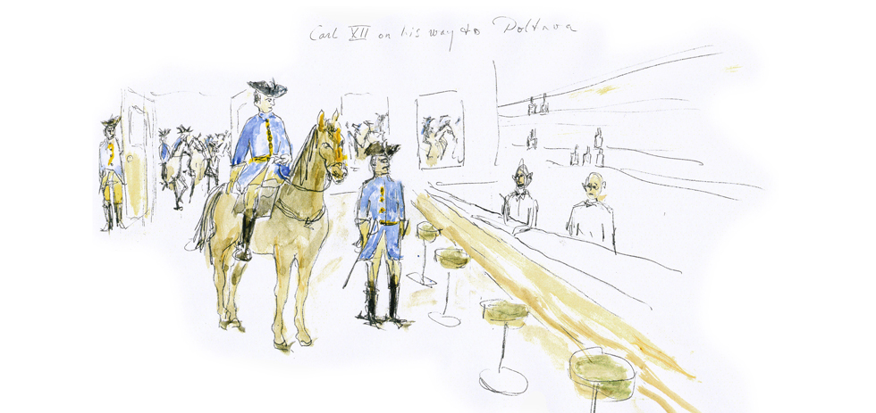 Roy Andersson's initial sketch of the Charles XII scene