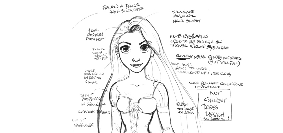 One of Glen Keane's Rapunzel concept sketches