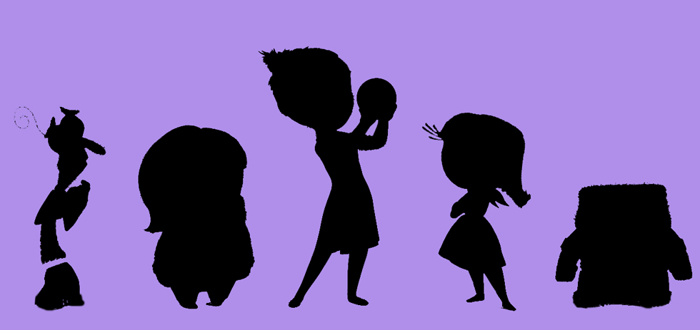 Silhouettes of the characters in Inside Out