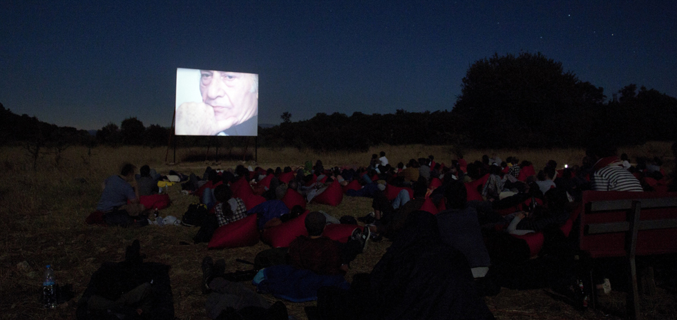 A screening of ENIAIOS at the Temenos in Lyssaria. Greece